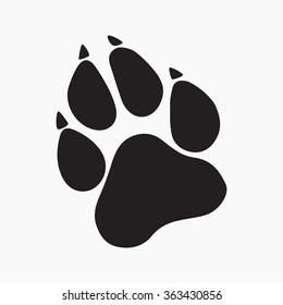 Gray Paw Prints. Logo.Vector Illustration. Isolated vector Illustration. Black on Grey background. EPS Illustration.