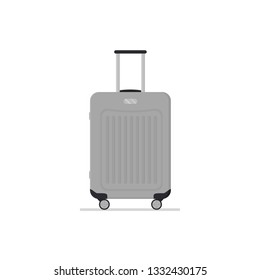 Gray plastic suitcase on wheels with telescopic handle. Travel bag. Polycarbonate luggage. Baggage of tourist. Colorful illustration in flat style isolated on white background. Cartoon vector design.