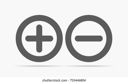 Gray plus minus. Vector illustration. Plus and minus round icons on light background.
