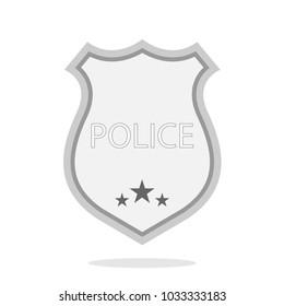 Gray police token. Flat style