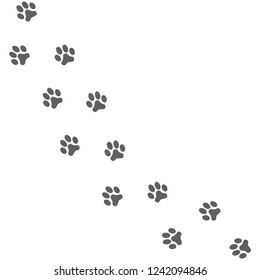 Gray prints paws dog isolated on white background. Footprints animal. Vector illustration.