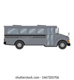 Gray Prison Bus. Vector Flat Color Illustration.