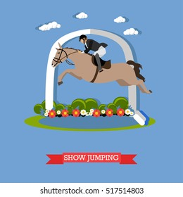 Gray race horse and man jockey in uniform jumping over barrier. Show jumping vector illustration in flat style.