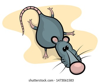 Gray rat with pink nose cartoon character vector illustration