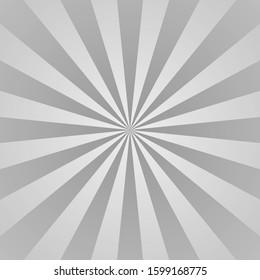 Gray ray background. Vintage abstract texture. Retro starburst, sun beam. Halftone color. Light burst. Bright shine sunburst. Empty blank, scrapbook surface. Clean nature energy Vector illustration