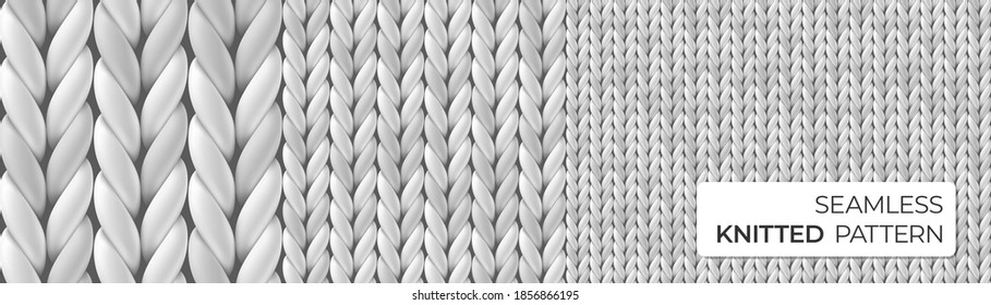 Gray realistic merino wool fabric. Seamless detailed knitted pattern. Vector illustration with closeup texture for wallpaper, background, web page backdrop, wrapping paper, winter design, postcard.
