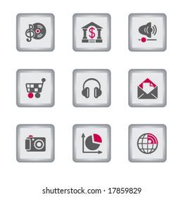 Gray rectangle web icon, set 5