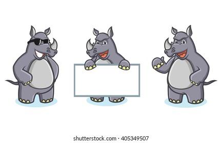 Gray Rhino Mascot Vector happy, pose and bring board