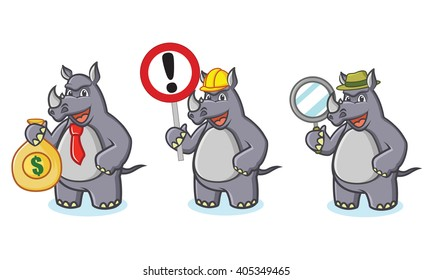 Gray Rhino Mascot Vector with sign, money and magnifying