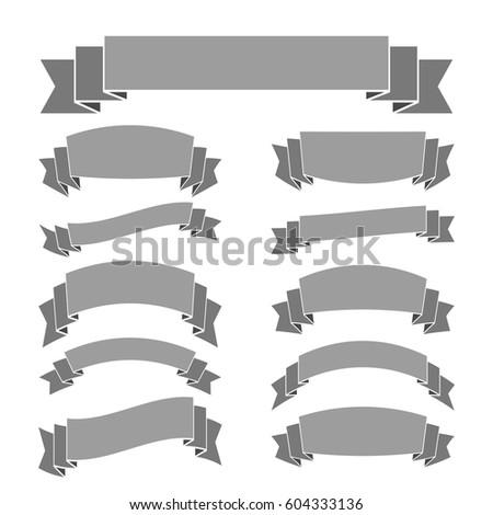gray ribbon banners set vintage decoration stock vector royalty