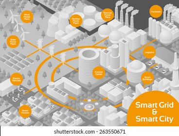 Gray Scale City and Smart Grid image illustration, vector