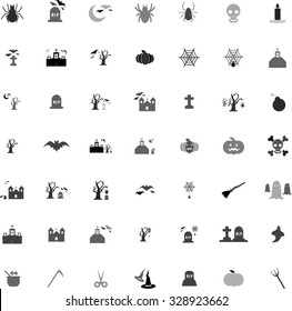 Gray scale Halloween icon set vector