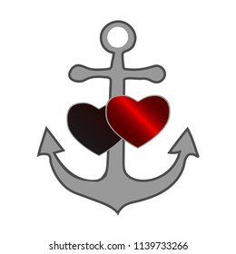 Gray sea anchor with a red and black heart symbolizing love and romance, a honeymoon trip or a love of boating and yachting, vector illustration