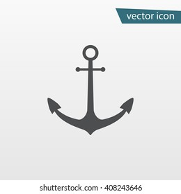 Gray Ship Anchor icon isolated on background. Modern simple flat sign. Business, internet concept. Trendy boat vector symbol for website design, web button, mobile app. Logo illustration.