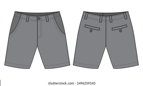 Gray Short Pants Vector for Template