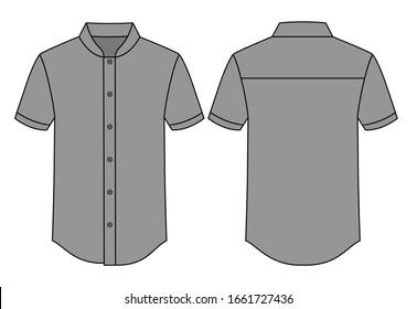 Gray Short Sleeve Chef Uniform Shirt Vector For Template.