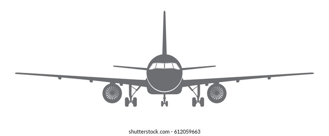 Gray silhouette of an airplane