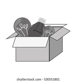 gray silhouette craft box with bulbs