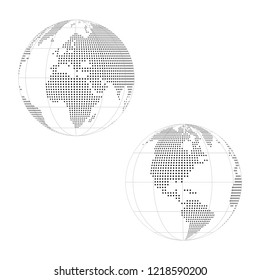 Gray silhouette of world maps isolated on white background