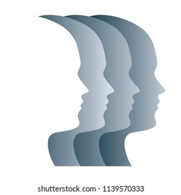 Gray silhouettes of faces, positioned in a straight row. Four overlapping heads, as a symbol for egality, marching in step, military, obedience and loss of identity. Psychology. Illustration. Vector.