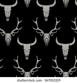 Gray skull of a deer and a bull on black background Vector seamless pattern