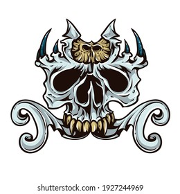 gray skull with effects in vector. illustrator
