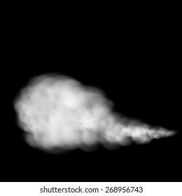 Gray smoke isolated on black background. Vector image.