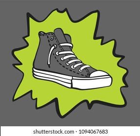 Gray sneaker shoe with a splash. vector illustration