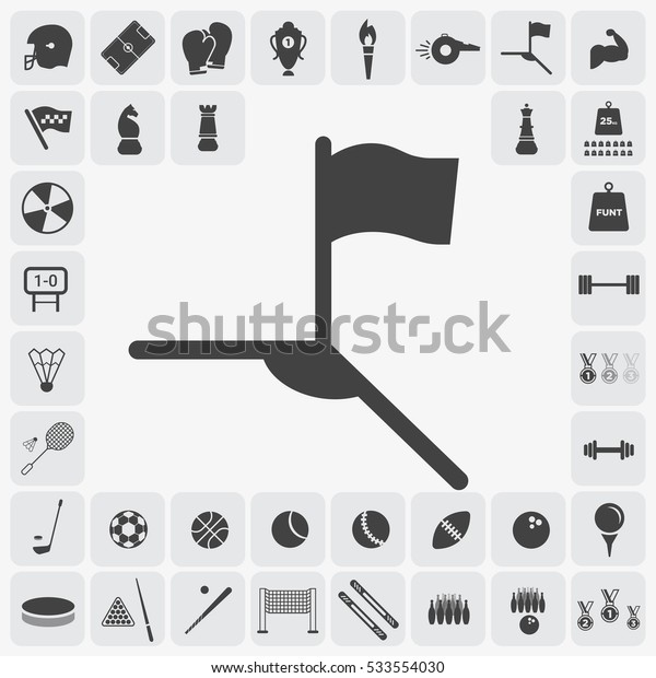 Gray soccer corner icon illustration isolated vector, flag sign symbol