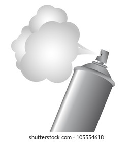 Gray spray bottle with gas cloud, vector illustration