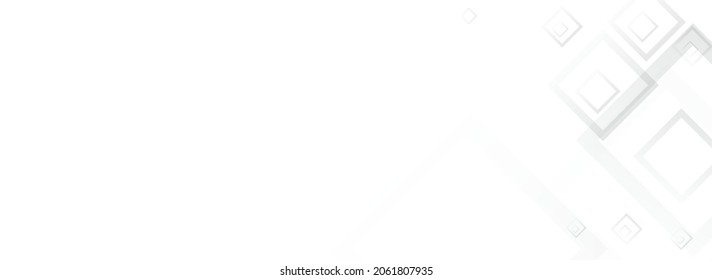 Gray Square Mosaic Vector Panoramic Background. 3d Rectangle Illustration. White Shape Backdrop. Light Concept Banner.