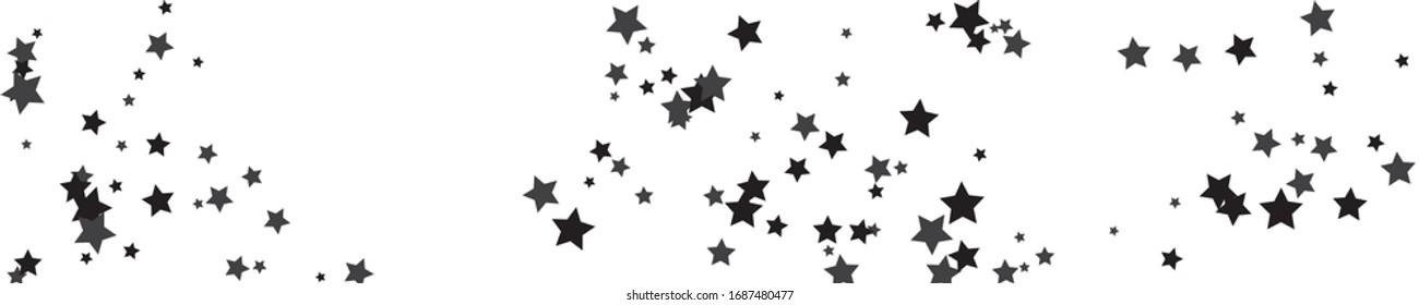 Gray Stars Sky. Black Pattern Card. Texture Festive. Confetti Invitation. Starry Cosmos. Summer Festive. Christmas Design. Glitter Symbol. Falling Greeting.