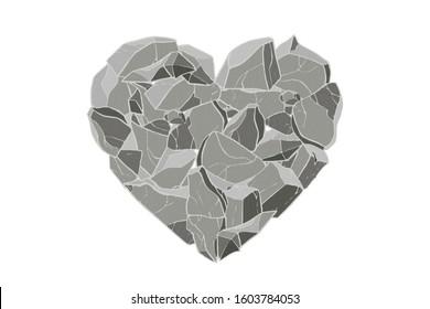 Gray stone heart. Vector illustration. Valentine day card.
