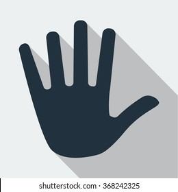 Gray Stop hand icon vector isolated. Modern flat pictogram, business, marketing, internet concept. Trendy Simple vector symbol for web site design. Logo illustration.