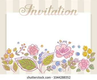 Gray striped card. Colored twigs with berries and flowers. Vector picture. The inscription in English.