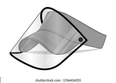 Gray Sun Visor Cap With Plastic Transparent Face Shield Vector For Template.