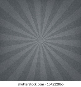 Gray sunburst blank background. Sunbeam with noise effect texture. Retro empty vintage abstract backdrop. Template swatch in square format. Vector illustration design element save in 10 eps
