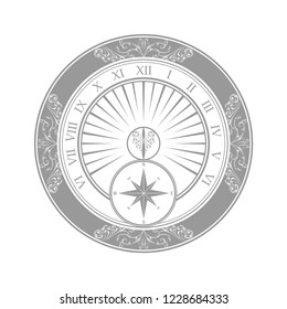 Gray sundial silhouette with floral pattern isolated on white background