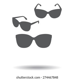 gray Sunglasses icon, vector illustration with shadow.