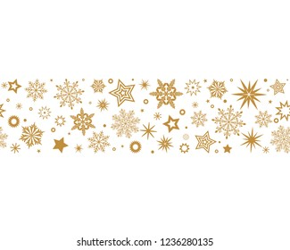 Gray swirl of golden snowflakes and stars. seamless christmas garland. New Year. flat vector illustration isolated on white background