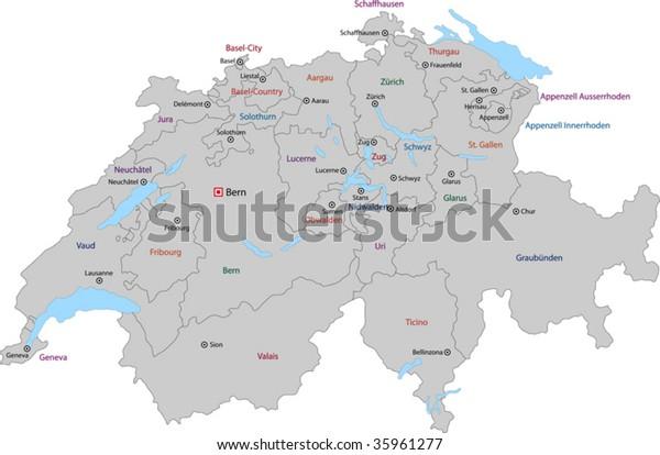 Gray Switzerland Map States Main Cities Stock Vector ...