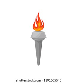 Gray torch with hot blazing fire. Bright red-orange burning flame. Flat vector icon