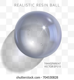 Gray transparent resin ball. Vector 3d realistic epoxy bead of silver smoky tints. Fashionable glossy artificial jewel. Perfect closeup polymer orb with a translucent shadow on a checkered background.