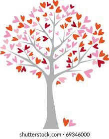 gray tree with hearts