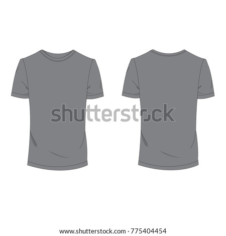 Gray T Shirt Template Using For Fashion Cloth Design And Accessory Designer To Make