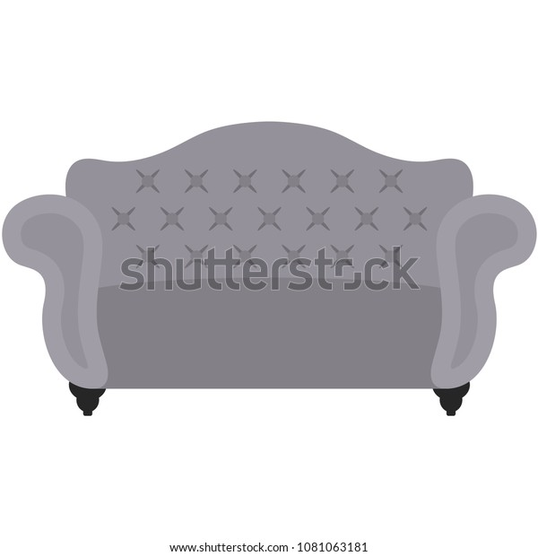Superb Gray Tufted Sofa Illustration Fancy Elegant Stock Vector Inzonedesignstudio Interior Chair Design Inzonedesignstudiocom