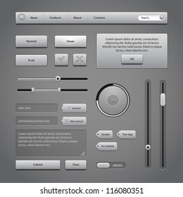 Gray UI Controls Web Elements 2: Buttons, Comments, Sliders, Message Box, Preloader, Loader, Tag Labels, Unlock