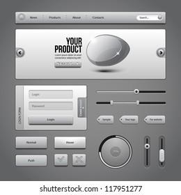 Gray UI Controls Web Elements 3: Buttons, Login Form, Authorization, Sliders, Banner, Box, Preloader, Loader, Tag Labels