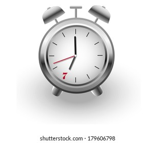 gray vector alarm clock on white background