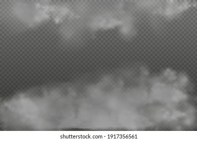 Gray vector cloudiness ,fog or smoke on dark checkered background.Set of Cloudy sky or smog over the city.Vector illustration.